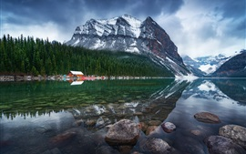 Preview wallpaper Canada, lake, mountains, houses, trees, stones, morning