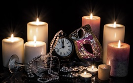 Preview wallpaper Candles, fire, flame, mask, pocket watch, glass cup