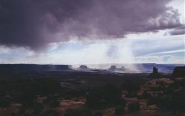 Национальный парк Каньонлендс, облака, горы, каньон, солнечные лучи, США