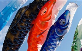 Preview wallpaper Carp, lanterns, Japanese culture