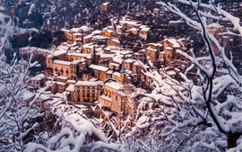 Preview wallpaper Caserta, Italy, winter, snow, city, houses