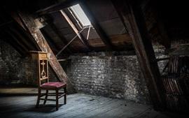 Chaise, grenier, fenêtre