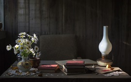 Preview wallpaper Chamomile flowers, books, lamp, still life