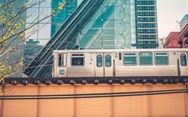 Чикаго, поезд, город, США
