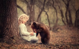 Preview wallpaper Child girl and bear cub, friends