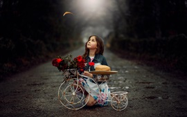 Preview wallpaper Child girl, toy bike, flowers, hat