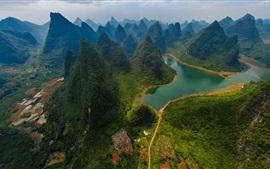 China, Parque Nacional do Rio Guilin Lijiang, montanhas, rio, verde, vista de cima