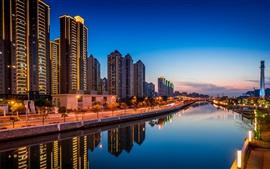 China, Shanghai, rio, edifícios, crepúsculo, luzes