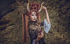 Preview wallpaper Chinese girl, horns, headdress, decoration