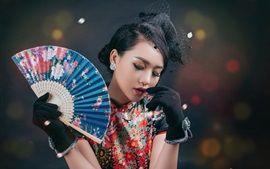 Preview wallpaper Chinese girl, retro style dress, fan