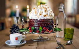 Preview wallpaper Chocolate cake, berries, drinks