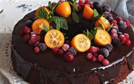 Bolo de chocolate, kumquat, bagas