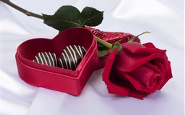 Chocolate candy, red rose, gift