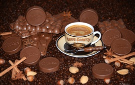 Preview wallpaper Chocolate, coffee, cup, coffee beans