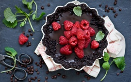 Preview wallpaper Chocolate pie, raspberry, sweet food