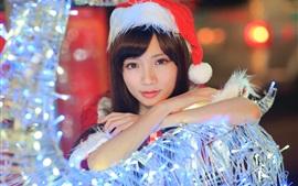 Christmas Asian girl, hat, lights
