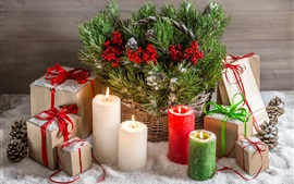 Christmas decoration, candles, fire, flame, gifts, snow