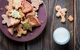 Preview wallpaper Christmas theme, cookies, milk