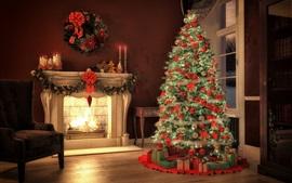 Árvore de Natal, lareira, decoração, sala