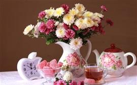 Chrysanthemum, bouquet, vase, candy, tea, clock