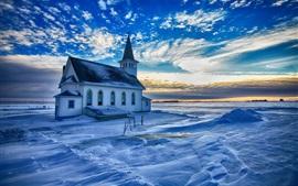 Igreja, inverno, neve, nuvens, por do sol