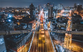 Preview wallpaper City, bridge, lights, buildings, road, illumination, night