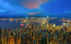 Preview wallpaper City night view, Hong Kong, skyscrapers, lights, sea