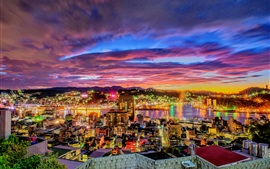 Vista noturna da cidade, rio, casas, luzes