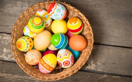 Preview wallpaper Colorful Easter eggs, basket, holiday