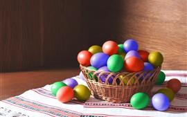 Colorful Easter eggs, basket, light