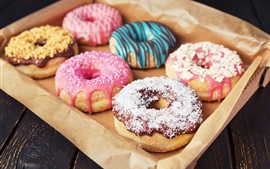 Preview wallpaper Colorful donuts, delicious food