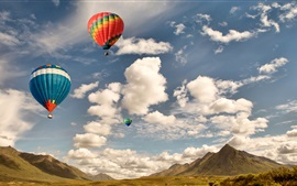 Preview wallpaper Colorful hot air balloon flight, sky, clouds