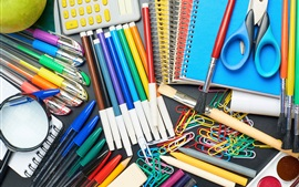 Preview wallpaper Colorful pencils, brush, scissors, notebook, calculator, paper clip