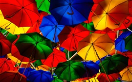 Preview wallpaper Colorful umbrellas, street