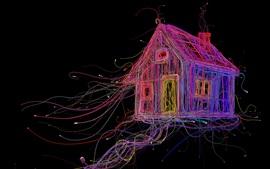 Casa de fio colorido, cabos, abstração, criativo