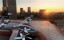 Concept drone, aircraft, city, sunset