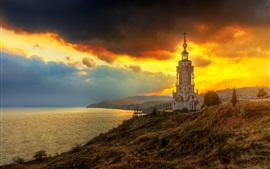 Preview wallpaper Crimea, lighthouse, temple, sea, clouds, sunset