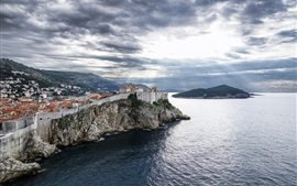 Preview wallpaper Croatia, Dubrovnik, sea, clouds, island, houses
