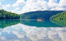 Preview wallpaper Croatia, Plitvice Lakes, water reflection, ship, forest