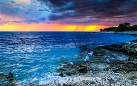 미리보기 배경 화면 크로아티아, 아름다운 일몰, 바다, 구름, 돌