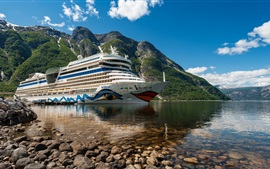 Preview wallpaper Cruise ship, mountains, sea