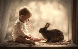 Preview wallpaper Cute baby and gray rabbit