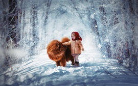 Preview wallpaper Cute child girl and dog in the winter, thick snow, trees