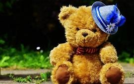 Симпатичный плюшевый мишка, синяя шляпа