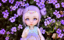 Preview wallpaper Cute toy girl, doll, flowers