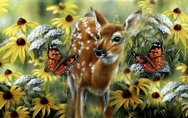 Preview wallpaper Deer, butterfly, flowers, art drawing