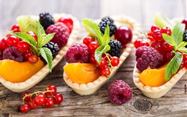 Preview wallpaper Delicious fruit, berries, currants, peach, raspberry, dessert