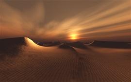 Desert, sands, clouds, sunset