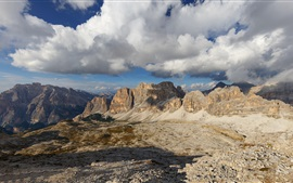 Preview wallpaper Dolomites, Italy, mountains, rocks, clouds