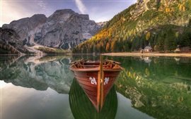 Preview wallpaper Dolomites, lake, boat, trees, mountains